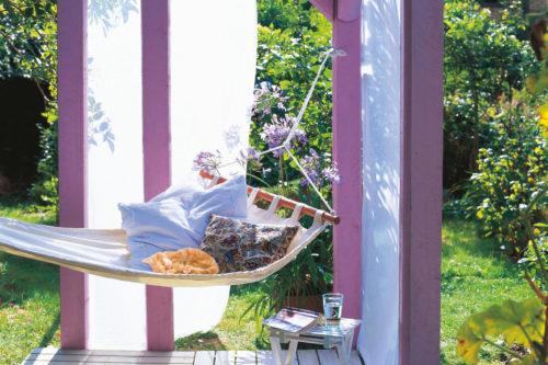 trädgård och terrass, hängmatta i pergola