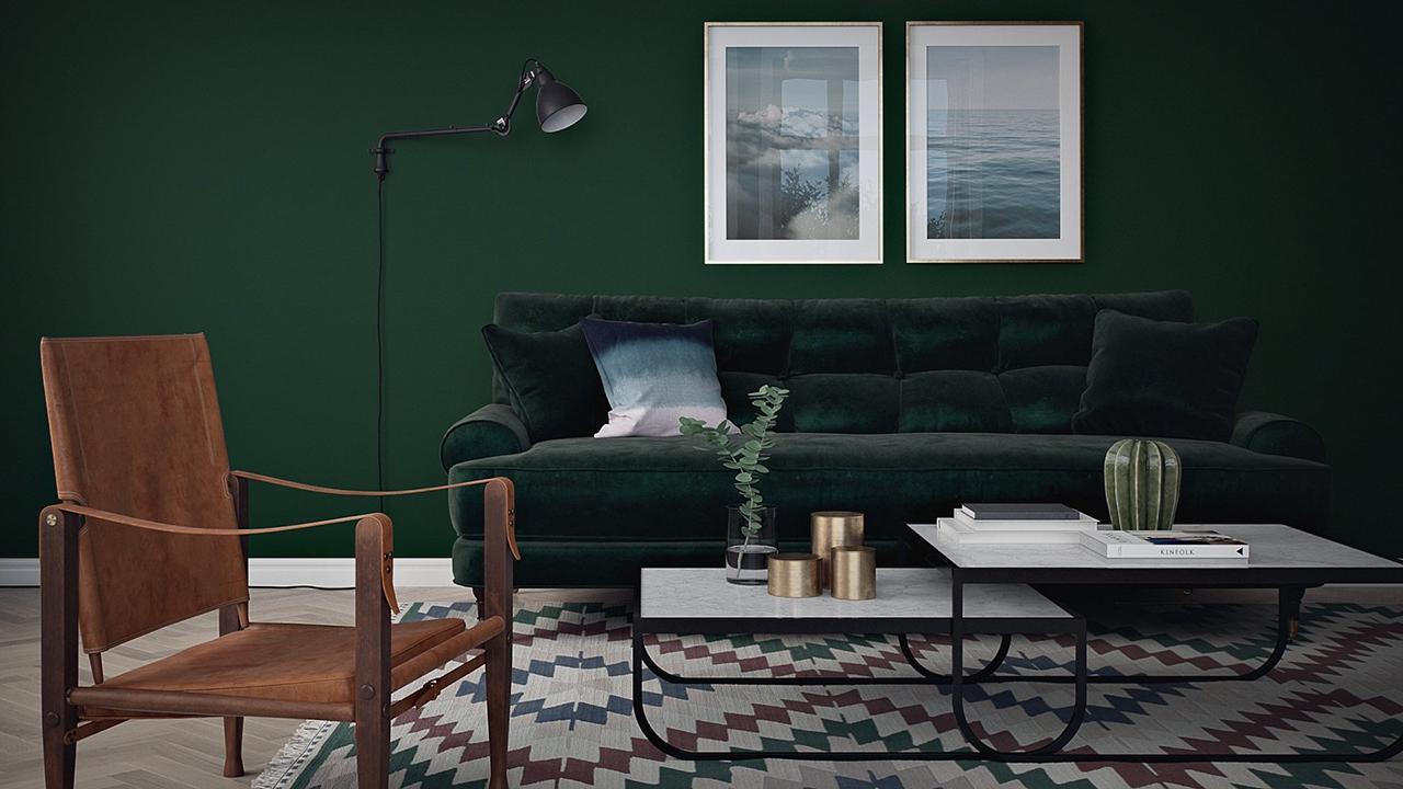 Måla vardagsrum mörkgrön vägg